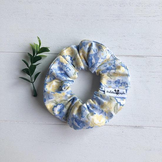 Chouchou motifs fleurs jaune et bleu