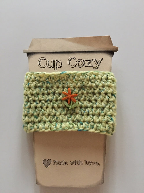 Coffee cup cozy with flower