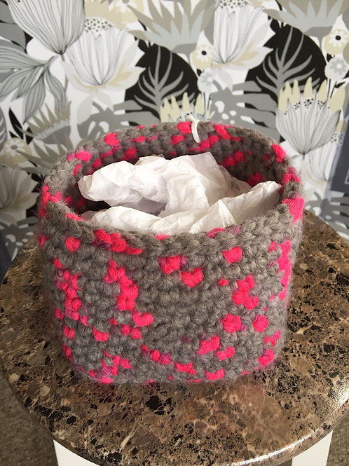 Pink and gray basket