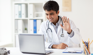 Doctor talking to a patient online