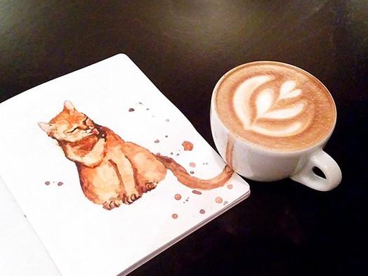 Ruská umelkyňa spojila svet kávy a mačiek