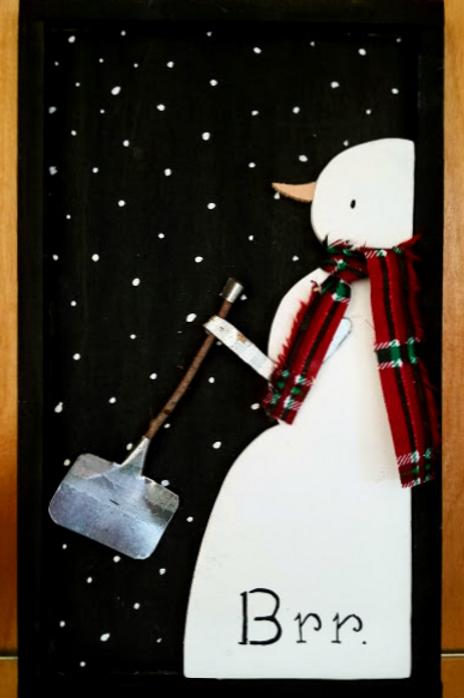 Vintage Wood Snowman Craft