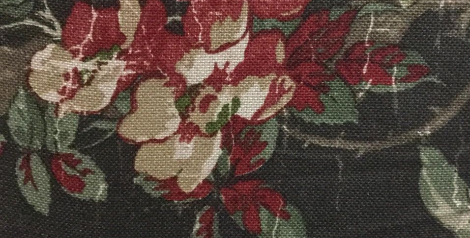 Red Floral Distressed Fabric