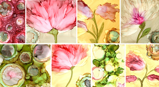abstract floral painting alcohol ink