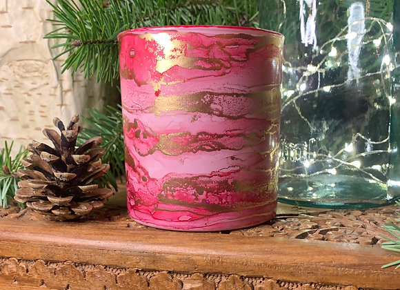 Pink & Gold Candle - Cotton and Iris