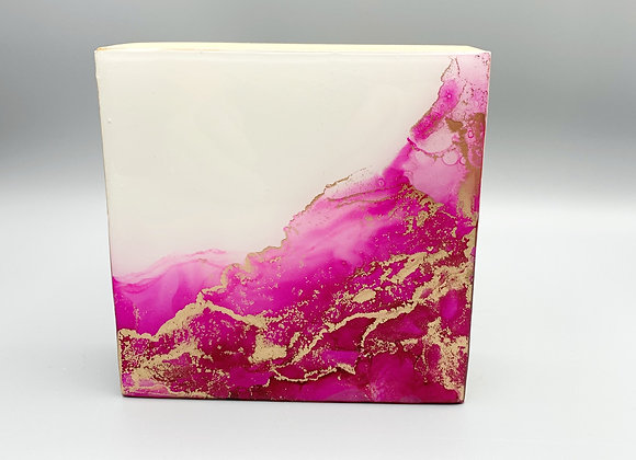 Pink and gold abstract - Original art in glossy resin