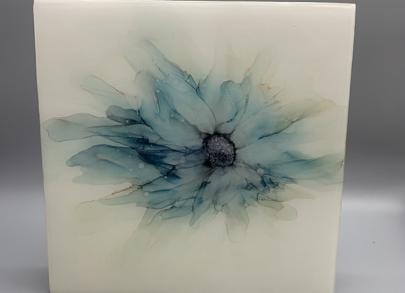 SOLD Abstract blue floral - Original art in matte resin