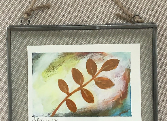 Botanical #2 - Original painting in floating frame