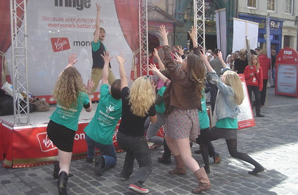 Cast of the Edinburgh Fringe Festival production perform the title number from Show Choir! - The Musical on the Royal Mile