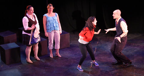 """Julie Galorenzo, Kara Deyoe, Shira Elias, and Mick Bonde performing """"Stage Fright"""" from Show Choir! - The Musical at the New York Musical Theatre Festival"""