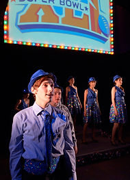 Cast of Show Choir! - The Musical at American Conservatory Theater - San Francisco performs Symphonic Sensations Super Bowl Half Time Show