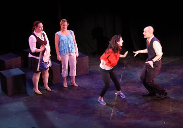 "Julie Galorenzo, Kara DeYoe, Shira Elias, and Mick Bonde performing ""Stage Fright"" in the 2010 NYMF production"