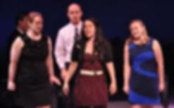 """Julie Galorenzo, Mick Bonde, Shira Elias, and Kara DeYoe perform """"Stage Fright"""" from Show Choir! - The Musical at York Theatre's NEO7 concert"""