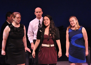 "Julie Galorenzo, Mick Bonde, Shira Elias, and Kara DeYoe perform ""Stage Fright"" from Show Choir! - The Musical at York Theatre's NEO7 concert"