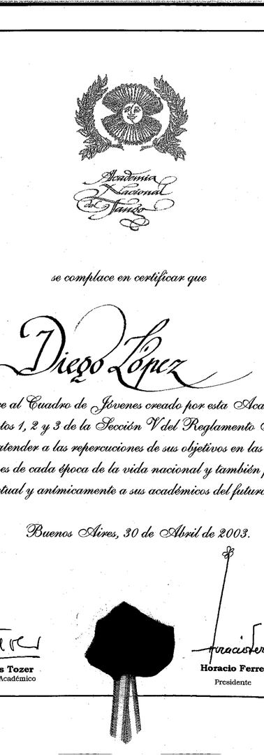 Certificate from the National Tango Academy stating that our founder Diego López was part of the Academy's Youth Group with the objective of forming new generations of people interested in this dance.