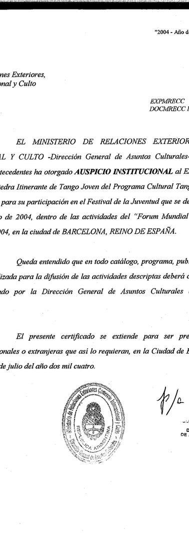 Certificate from the Argentinean Ministry of Foreign Affairs and Worship