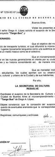 Letter of sponsorship from the Government of City of Buenos Aires