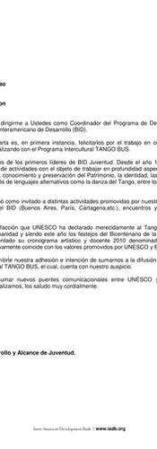 Letter from the IDB to UNESCO