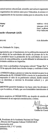 Letter from UNESCO to Diego López