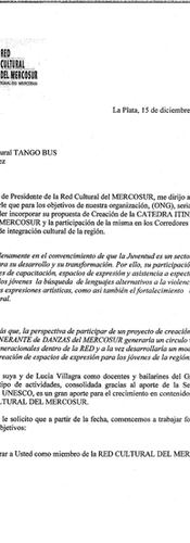 Letter from the president of Mercosur's Cultural Network