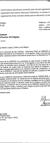 Letter from UNESCO's Youth Section to Diego López
