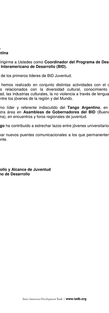 Letter from Fabian Koss of the IDB to Diego López