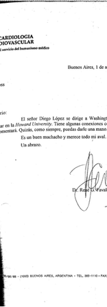 Letter from René Favaloro anouncing that our founder Diego López received a scholarship to study a course in the Howard University.