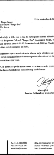 Letter from IRSA to Diego López