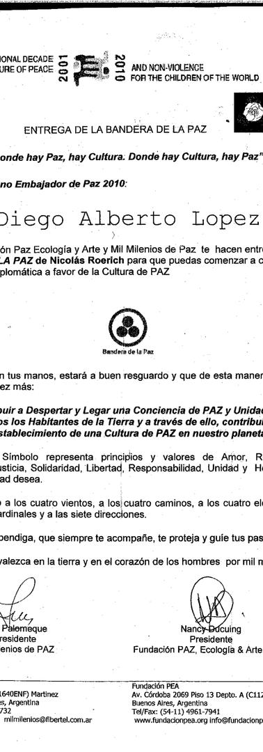 Certificate of Peace Embassador by UNESCO