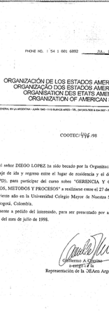 Certificate from the OAS stating that Diego López received a scholarship from this organization to participate in a Cultural Management course in Del Rosario University, Bogotá, Colombia in 1998.