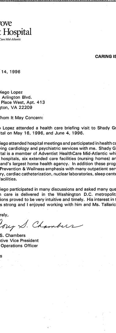 Letter from the Shady Grove Adventist Hospital regarding Diego López's visit