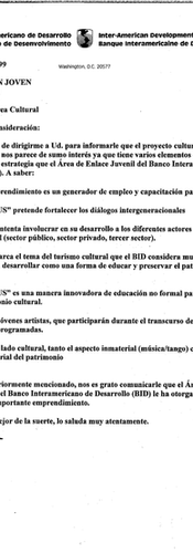 Letter from the IDB to Diego López