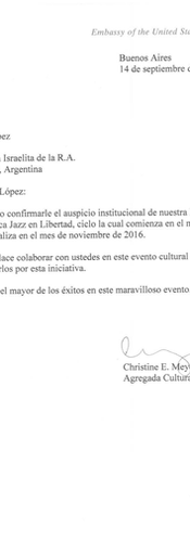 Letter from de Embassy of the United States in Argentina
