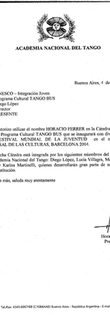 Letter from Horacio Ferrer, president of the Argentinean National Tango Academy