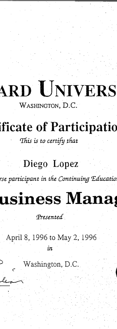 Certificate from the Howard University for Diego López's completion of the Small Business Management course