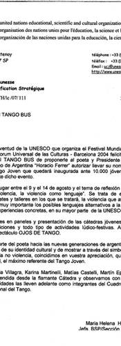 Letter from UNESCO to Diego López regarding the Universal Forum of the Cultures in Barcelona, 2004.