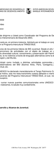Letter from IDB to UNESCO