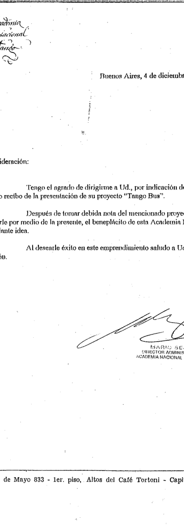 Letter from the National Academy of Tango to Diego López