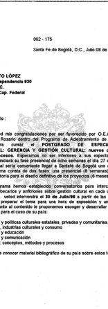 Letter from Del Rosario University in Colombia congratulating Diego López on receiving the OAS scholarship for a Cultural Management course.