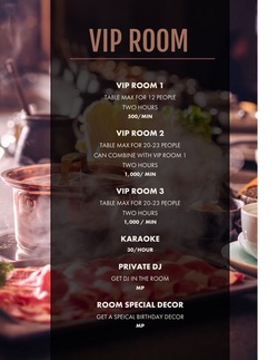 VIP ROOM MENU