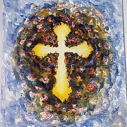 Flower and Cross Illustration.