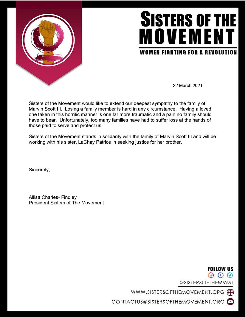 press release from sisters of the movement on marvin scott III