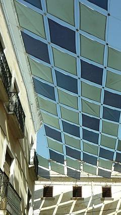 techo cobertura arqutctura textil asoleadero sombra