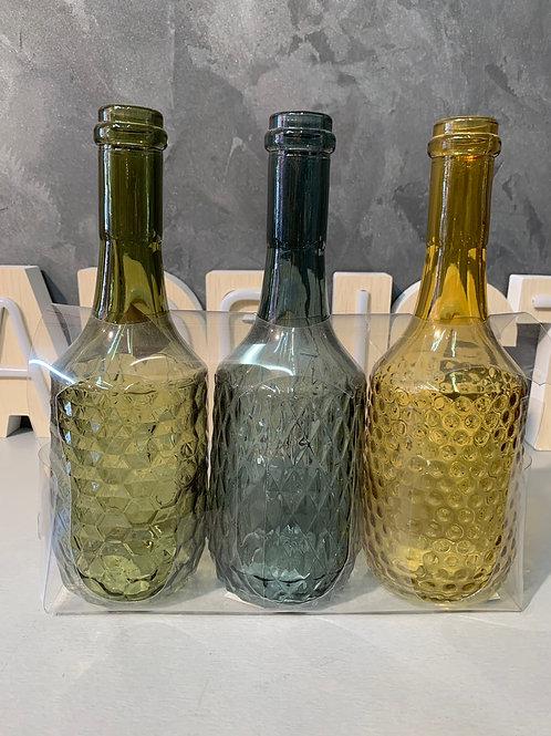 Lot de 3 bouteilles en verre