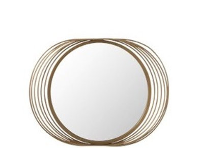Miroir Cercles Rond Metal/Verre Or