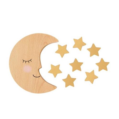 Lune et étoiles en bois jeu d'équilibrage