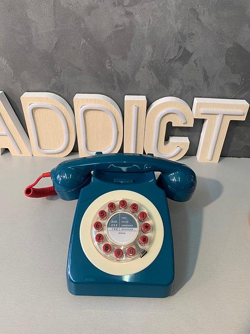 Téléphone rétro bleu