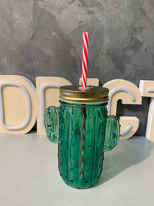 Mug cactus vert avec paille