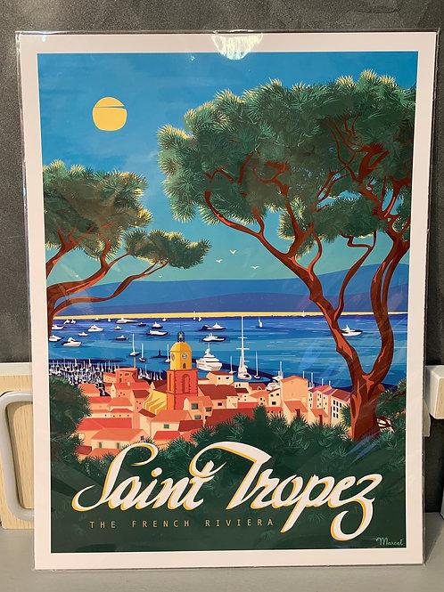 Affiche Marcel ST TROPEZ 30x40cm