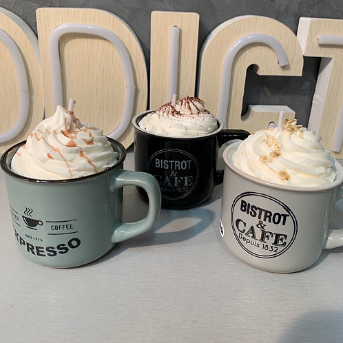 Bougie mug chocolat, caramel ou pop corn